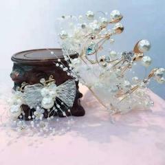 娘皇冠头饰生日头饰女森系公主仙美超仙珍珠发饰耳环套装 图片色 标准
