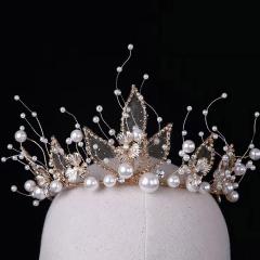 ETE高端热卖2019新款新娘饰品结婚皇冠 浅金色带手工皇冠 图片色 标准