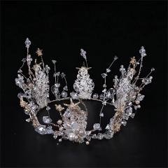ETE新娘皇冠结婚圆冠ETE2019新款超仙韩式复古金色婚纱头饰 图片色 标准