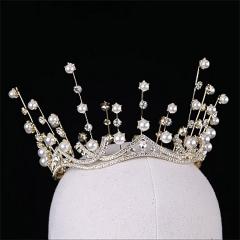 ETE2019新娘结婚皇冠头饰新款大气珍珠婚纱发饰婚礼生日巴洛克圆冠 图片色 标准