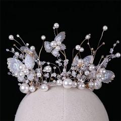 ETE韩式皇冠圆形新娘饰品生日婚纱头饰礼服发饰唯美珍珠圆冠 图片色 标准