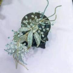 精致金属叶片花瓣侧边夹新娘饰品礼服配饰影楼摄影跟妆造型盘发 图片色 标准