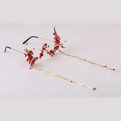 蝶框架眼镜无镜片流苏假眼镜个性装饰影楼新娘妆造型拍片饰品 图片色 标准