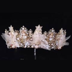 ETE仙美蕾丝蝴串珠大皇冠公主女王森系新娘头饰唯美婚纱婚礼饰品 图片色 标准
