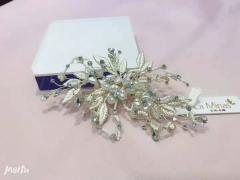 安迪米娜韩式清新气质手工串珠新娘婚纱晚宴礼服边夹唯美超仙头饰品 图片色 标准
