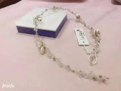 安迪米娜新娘复古串珠花朵软皇冠蛋白水晶发带 图片色 标准
