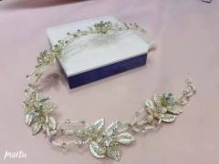 安迪米娜新娘复古金属花朵软皇冠蛋白水钻串珠短发带 图片色 标准