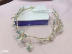 安迪米娜新娘金属花朵结婚头饰软皇冠发带头花饰品 图片色 标准