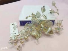 安迪米娜欧美高档发饰优雅盘发珍珠发梳头饰手工制作饰品新娘结婚插梳发箍 图片色 标准