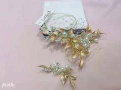 安迪米娜精致金属花瓣镶钻侧边新娘结婚头饰影楼摄影跟妆外景盘发造型饰品 图片色 标准