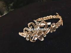 安迪米娜新娘头饰韩式手工复古金色发箍超仙水钻发饰结婚头饰婚纱礼服配饰 图片色 标准