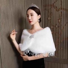 新娘婚纱礼服毛披肩韩版加厚保暖外套秋冬季白色8010000116 如图 均码