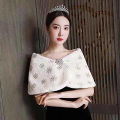 新娘婚纱秋冬季结婚韩版礼服外套加厚保暖毛披肩8010000120 如图 均码