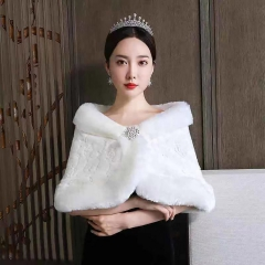 新娘婚纱礼服披肩外套结婚旗袍伴娘毛披肩冬季8010000119 如图 均码