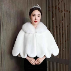 新娘婚纱礼服披肩外套结婚旗袍伴娘毛披肩冬季8010000110 如图 均码