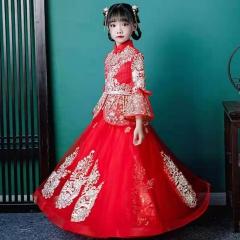 儿童艺术写真服童装时尚服装中式小纱裙W906JHHS0325-14 如图 均码