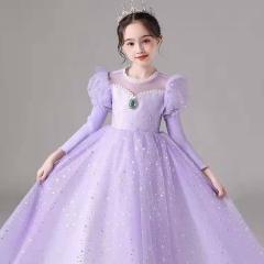 儿童艺术写真服童装时尚紫色小纱裙W906JHHS0325-17 如图 均码