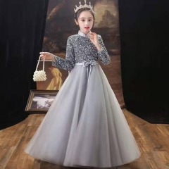 儿童艺术写真服童装银灰色小纱裙W906JHHS0325-18 如图 均码