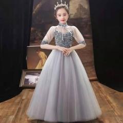 儿童艺术写真服童装银灰色小纱裙W906JHHS0325-19 如图 均码