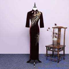 带袖立领琵琶襟妈妈装旗袍长款修身版花纹宴会礼服4000233375 如图(酒红带袖) M
