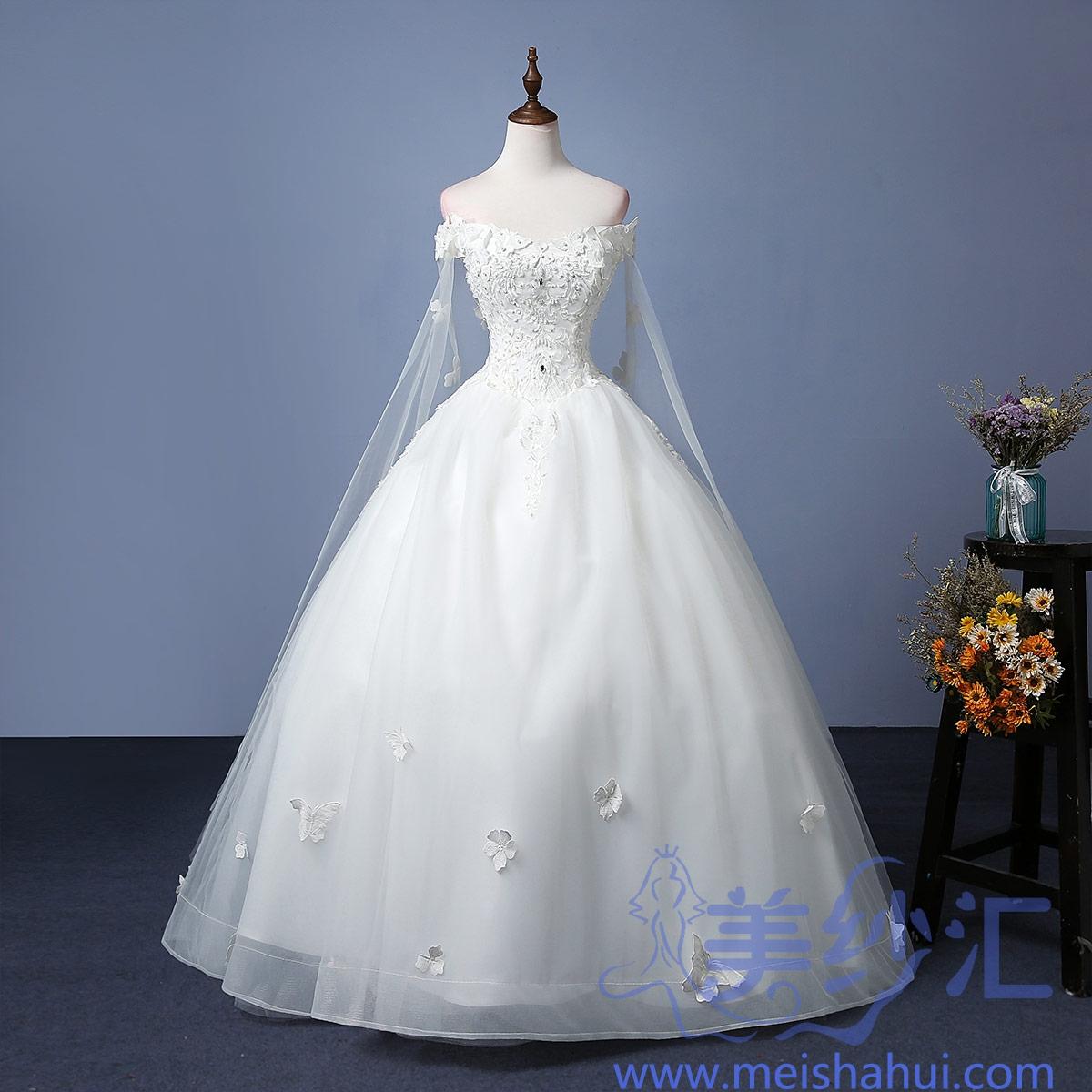 米白色一字肩新款新娘结婚当天嫁衣齐地婚纱精美贴花101101C-205 如图 均码