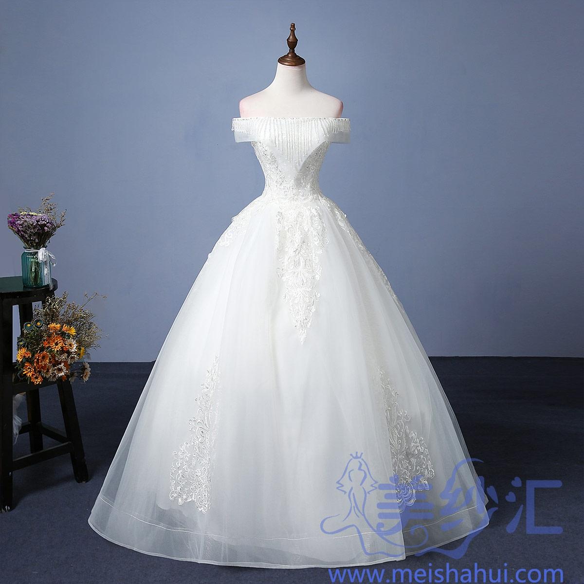 一字肩版精美花纹图案新款新娘嫁衣齐地婚纱101101C-190 如图 均码
