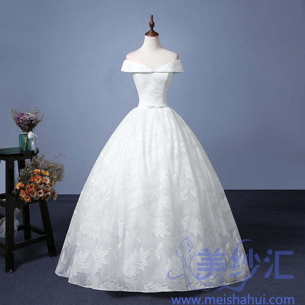 新娘结婚当天嫁衣齐地婚纱精美树叶花纹图案嫁衣101101C-182 如图 均码