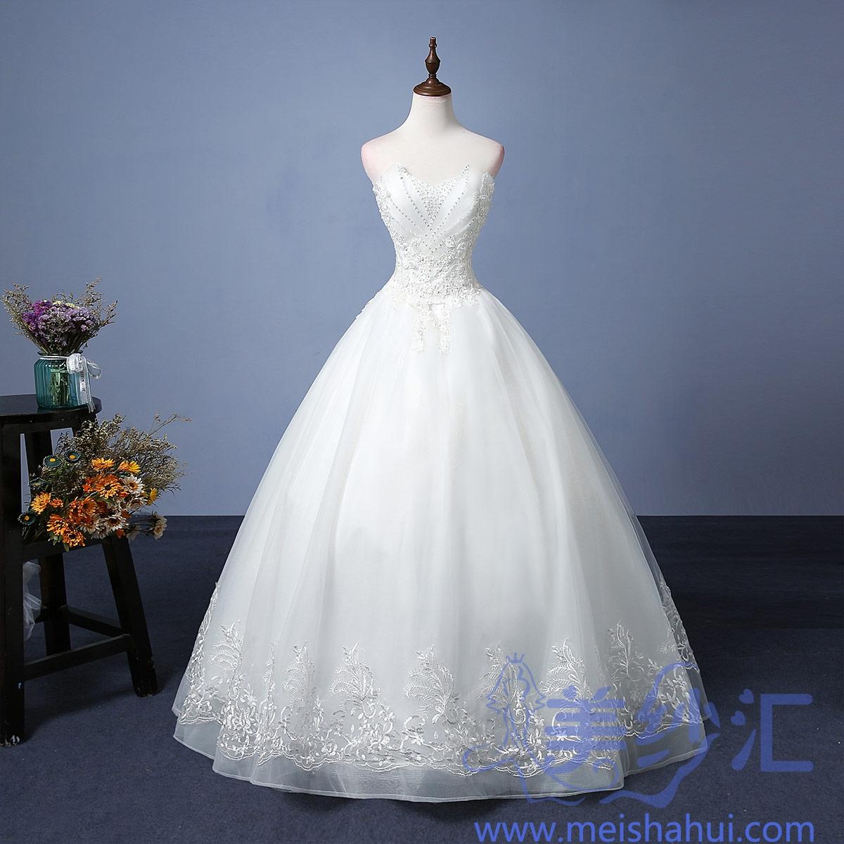 米白色抹胸款蕾丝花边图案新娘结婚当天嫁衣齐地婚纱101101C-202 如图 均码