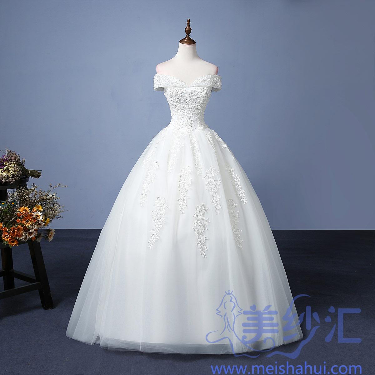 米白色一字肩新款新娘结婚当天嫁衣精美花纹齐地婚纱101101C-94 如图 均码