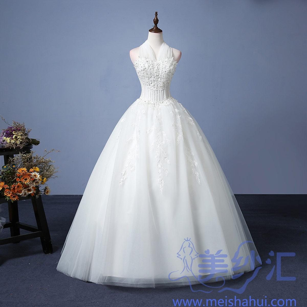 米白色挂脖款新娘结婚当天嫁衣齐地婚纱精美花纹101101C-117 如图 均码
