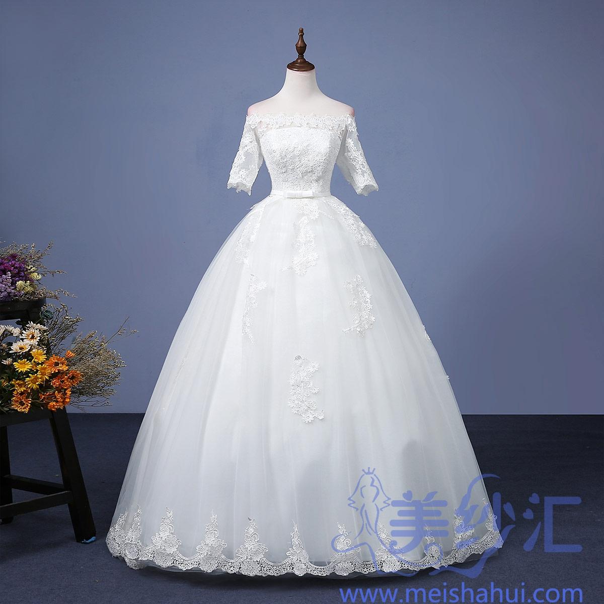 米白色一字肩中袖精美花纹新款新娘结婚嫁衣齐地婚纱101101C-91 如图 均码
