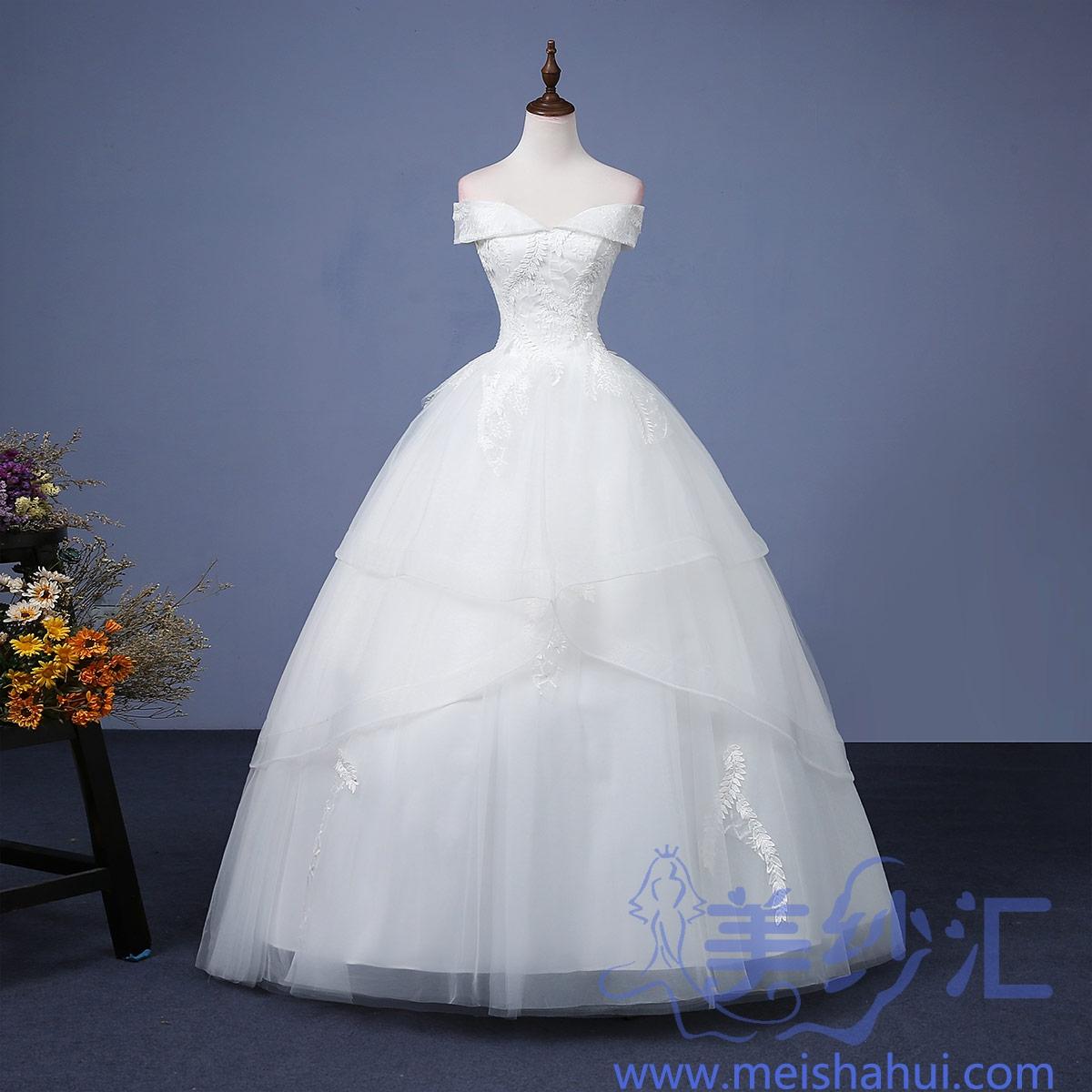 米白色一字肩精美花纹新款新娘结婚嫁衣齐地婚纱101101C-161 如图 均码