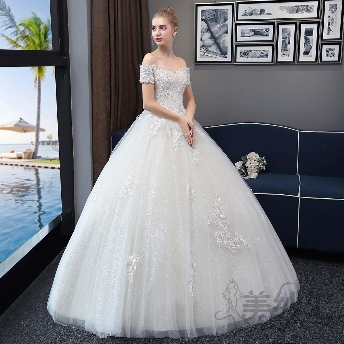 一字肩新娘结婚当天嫁衣齐地婚纱绑带款1010722786 香槟色 均码