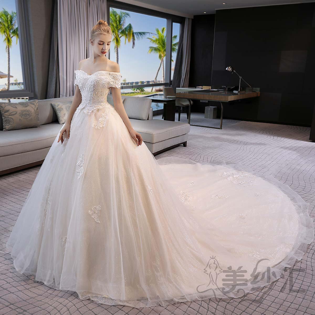 一字肩新娘结婚当天嫁衣拖尾婚纱绑带款1030722786TWHS 香槟色 均码