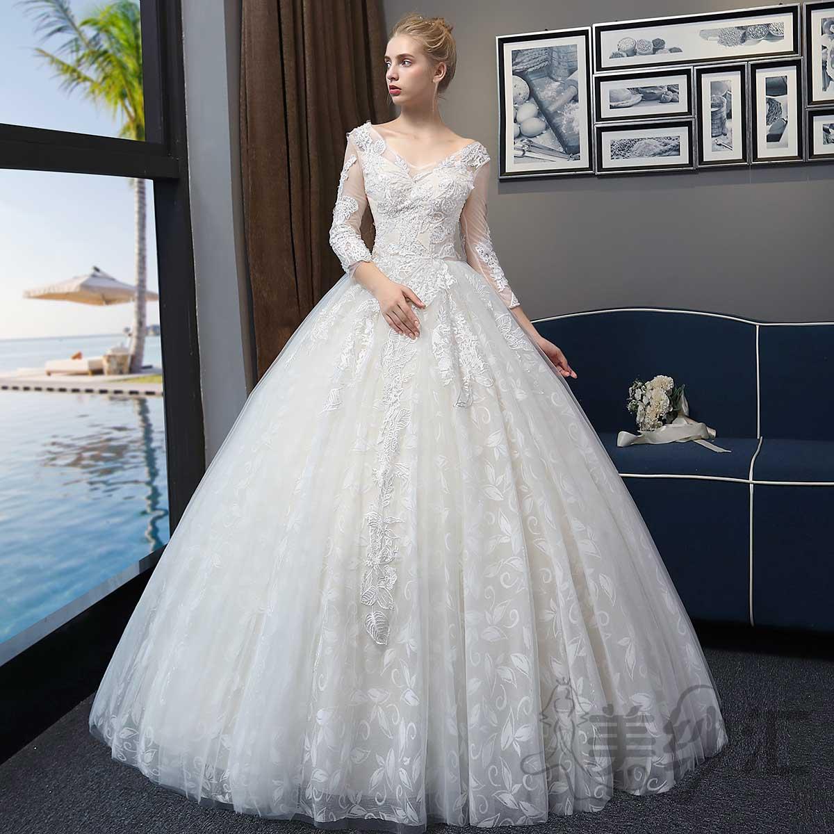 七分袖精美花纹图案新娘结婚当天嫁衣齐地婚纱绑带款1010722798 米白色 均码