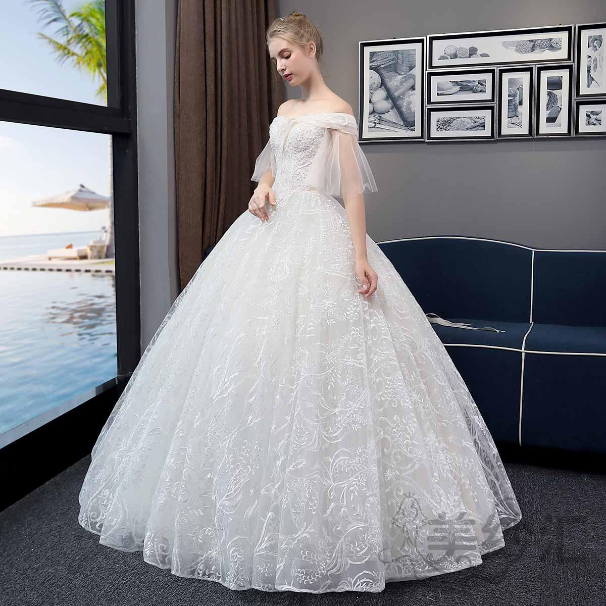 一字肩纱袖精美花纹新娘结婚当天嫁衣齐地婚纱绑带款1010722802 米白色 均码