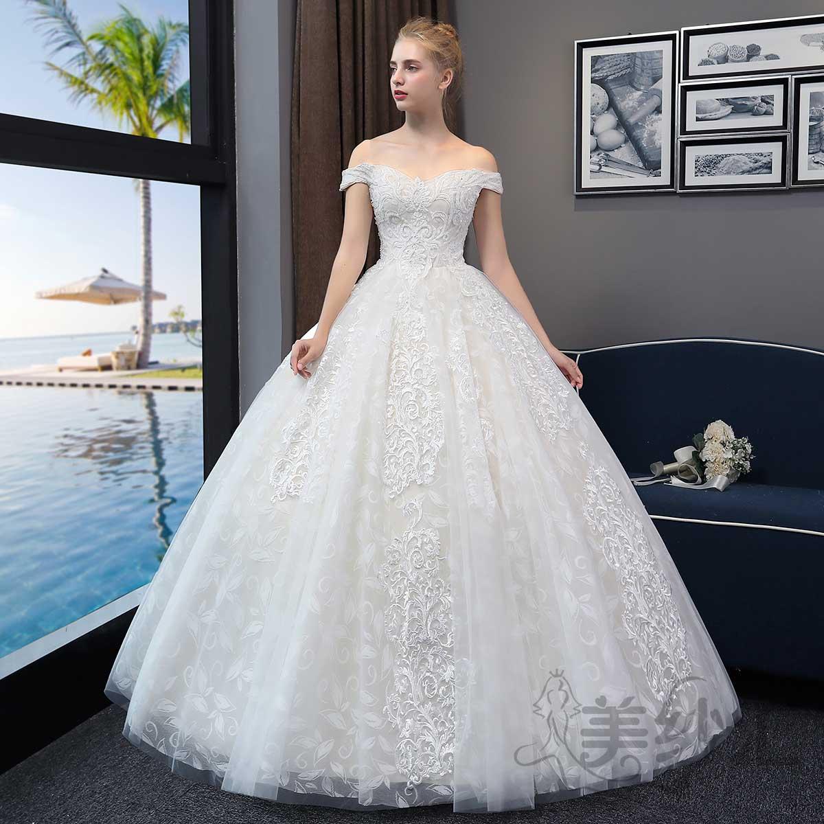 精美花纹一字肩新娘结婚当天嫁衣齐地婚纱绑带款1010722804 香槟色 均码