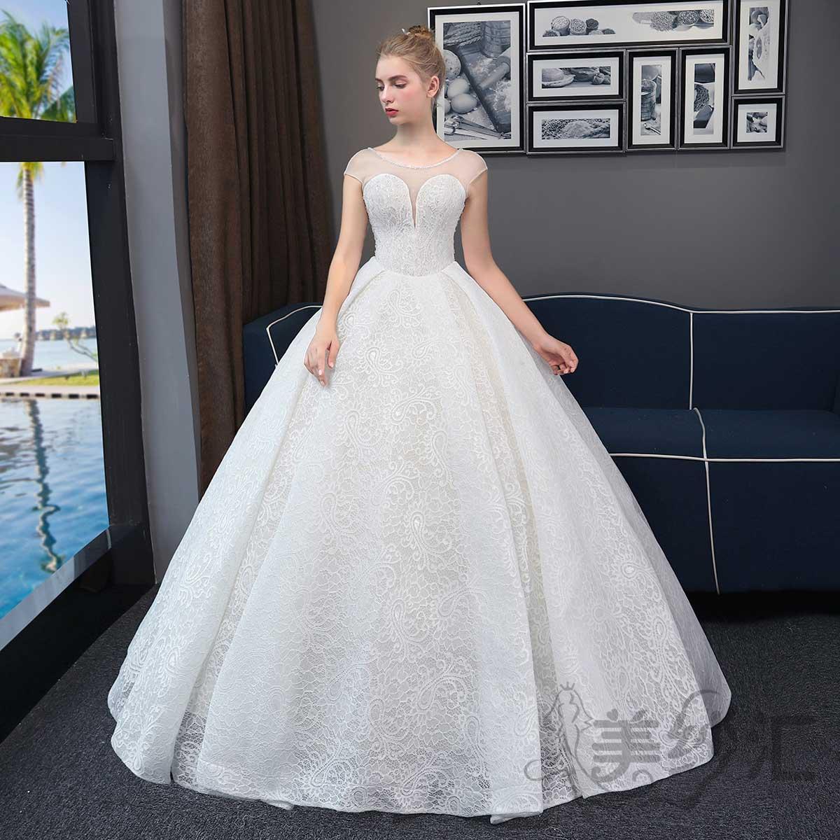 精美花纹包肩圆领新娘结婚当天嫁衣齐地婚纱绑带款1010722808 香槟色 均码