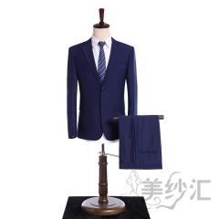 深色系新款男装两件套单排纽扣影楼工作室拍照款3010220005 如图 44码