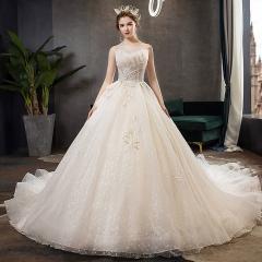 双肩影楼拍照款拖尾婚纱新娘结婚当天嫁衣绑带10315306169 图片色 均码