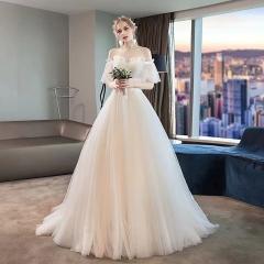 一字肩影楼拍照款小拖尾婚纱新娘结婚当天嫁衣绑带103026061612 图片色 均码