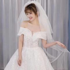 一字肩影楼拍照款齐地婚纱新娘结婚当天嫁衣绑带款101106061615 图片色 均码